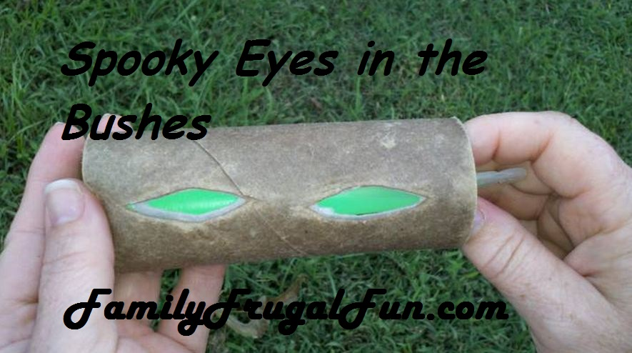 Homemade halloween props glowing eyes in your bushes image1 for Halloween decorations to make at home