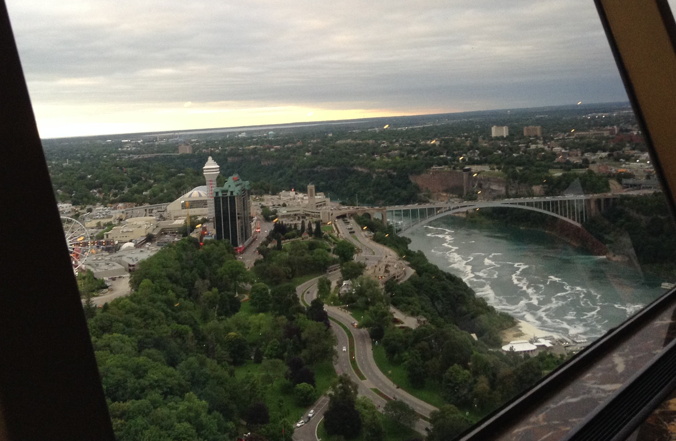 skylon tower awesome views of niagara falls as the restaurant turned we could see the bridge and the american side of niagara falls on the american side is the niagara falls state park which is the